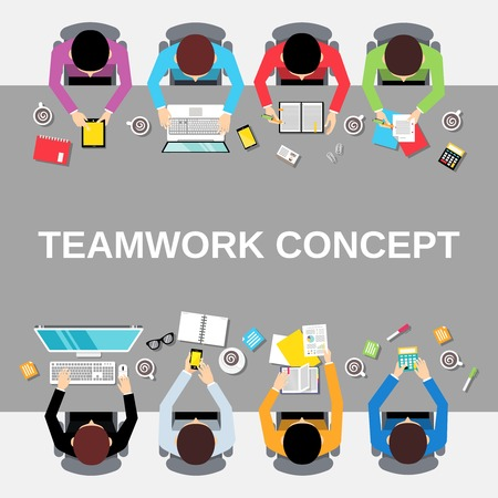 workday: Business team teamwork concept top view office people group on long table illustration Illustration