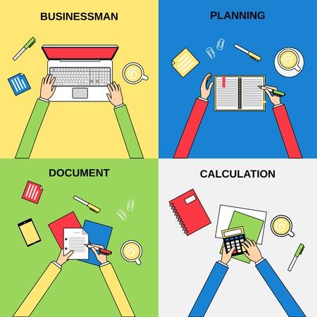 calculation: Business hands businessman planning document calculation flat line concepts set isolated illustration Illustration