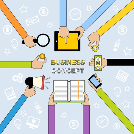 Business concept with human hands with money coin and paper cash book decorative icons illustration Vector