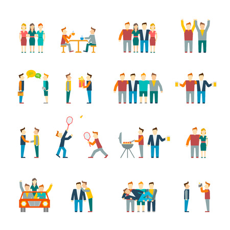 люди: Друзья и дружественные отношения социального команда плоским набор иконок изолированные иллюстрации Иллюстрация