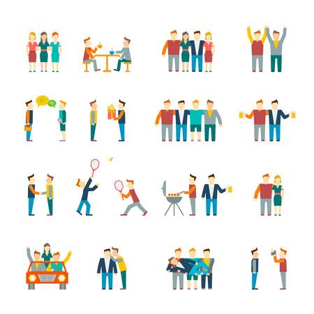 Vrienden en vriendschappelijke relatie sociaal team platte icon set geïsoleerd illustratie