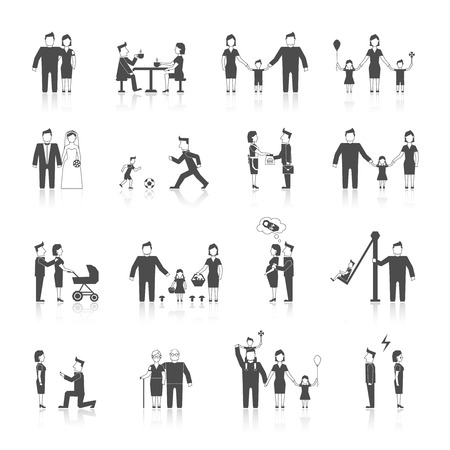 internet dating: Family figures black icons set of men women dating wedding parenting isolated illustration