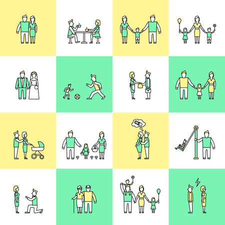 Family figures friends togetherness couple flat line icons set isolated illustration