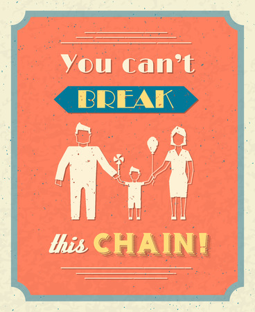 farther: Family retro poster with farther mother and boy kid holding hands illustration Illustration