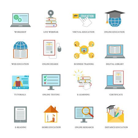 workshop: Online education icons set with workshop live virtual webinar isolated illustration