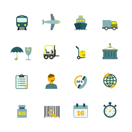 international internet: International coordination logistics 24hours worldwide container delivery service flat icons internet symbols pictograms collection isolated illustration