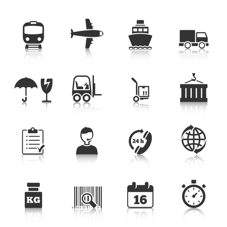 supply chain: Logistic symbols of packing loading worldwide cargo transportation delivery service black icons set abstract isolated illustration