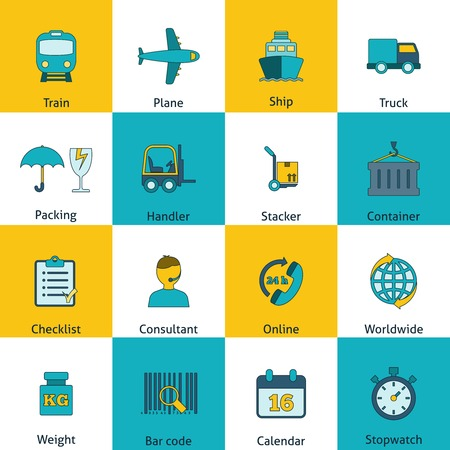 packing supplies: Global freight railway transportation logistics flat icons set with train container delivery operator abstract isolated illustration