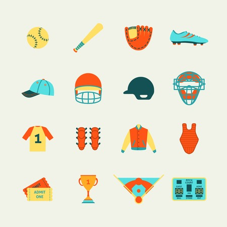 protective glove: Baseball game accessories flat pictograms collection with protective helmet mask bat pitch glove abstract isolated illustration