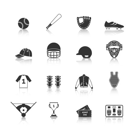 game equipment: Baseball sport game equipment black icons set of match tickets scoreboard and trophy silhouette isolated illustration