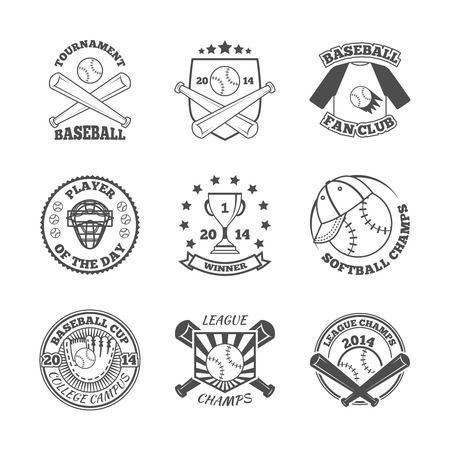 Baseball college league softball winners club graphic labels set with pitch glove abstract black isolated illustration Vector