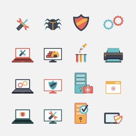 computer repair: Computer mobile tablet repair virus removal and battery replacement services flat icons set abstract isolated illustration