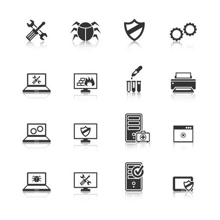 Reparación del ordenador y mantener los servicios de seguridad de Internet Colección de los iconos negros con escudo aislado antivirus resumen ilustración Ilustración de vector