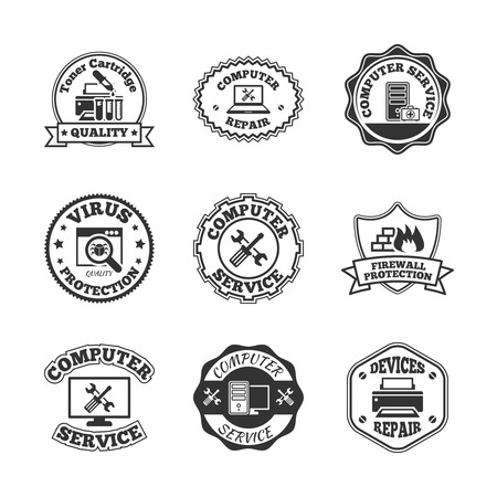 computer peripheral: Computer software virus control and peripheral devices repair professional quality service labels set black  isolated vector illustration Illustration