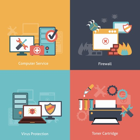malware: Computer repair and antivirus protection software installation service flat icons infographics with laser toner isolated illustration