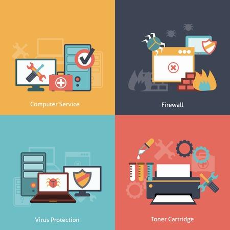 impresora: De reparación de computadoras y servicios de instalación de software de protección antivirus planas iconos infografía con aislados de tóner láser ilustración