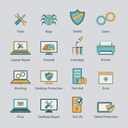 computer virus protection: Computer repair and virus malware removal network protection service flat line icons collection abstract isolated illustration Illustration