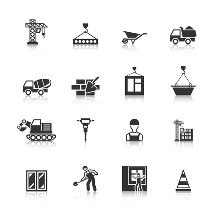 install: Building construction mason worker character installing window pane in brick wall icons black  isolated abstract illustration Illustration