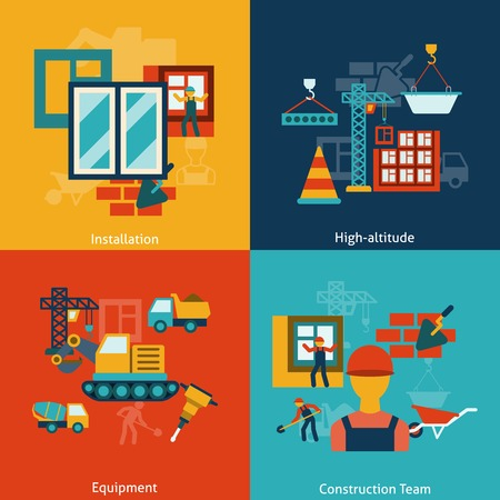 heights: Buildings construction installation equipment work at heights team flat icons infographic composition isolated illustration Illustration