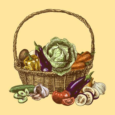 野菜バスケットの色が自然なオーガニック生鮮食品の装飾の設定イラストをスケッチします。