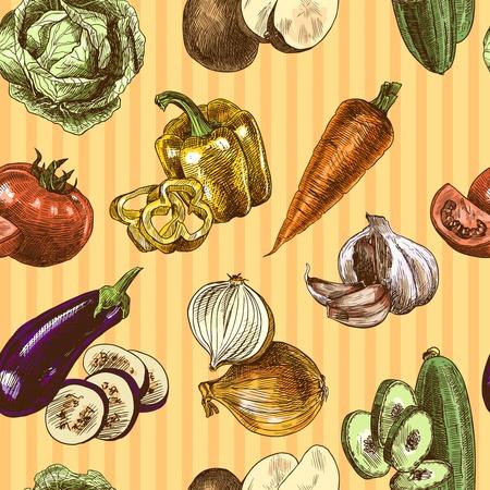 Vegetables natural organic fresh food color sketch seamless pattern illustration Stok Fotoğraf - 32938233