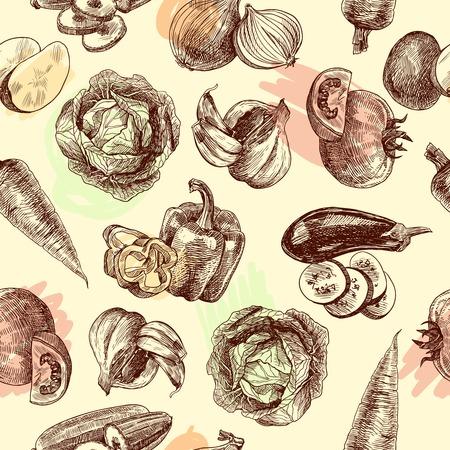 Vegetables natural organic fresh food black and white sketch seamless pattern illustration. Illustration