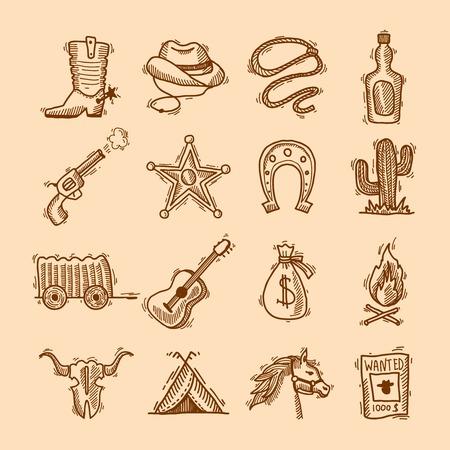 Wild west cowboy hand drawn set with saddle sheriff badge horseshoe isolated illustration Vector