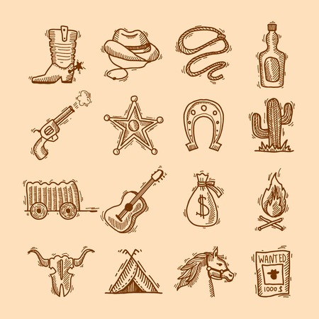 western clothing: Wild west cowboy hand drawn set with saddle sheriff badge horseshoe isolated illustration Illustration