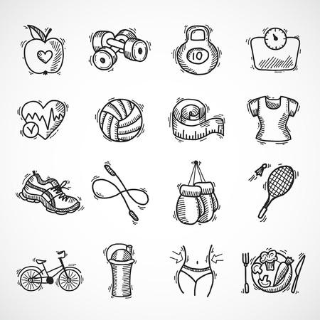 Fitness Bodybuilding Diät Sportübung Skizze dekorativen Symbole gesetzt isoliert Illustration Standard-Bild - 32938331