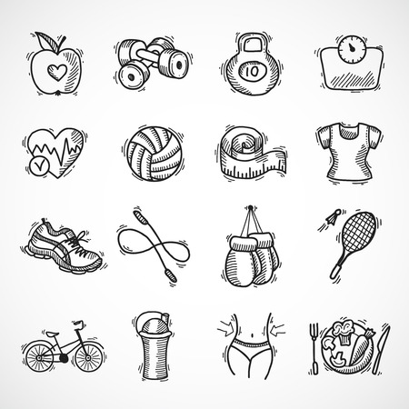 Fitness bodybuilding diet sport exercise sketch decorative icons set isolated illustration Иллюстрация
