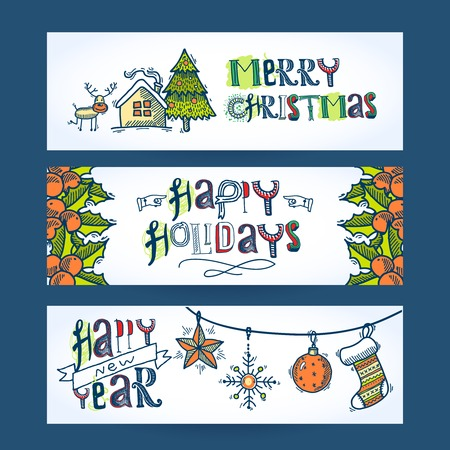 Vintage merry christmas new year holiday decoration sketch horizontal banner set isolated illustration Vector