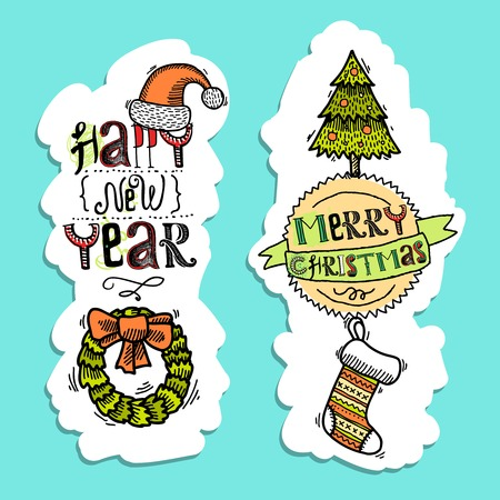 Vintage merry christmas happy new year holiday sketch vertical banner set isolated illustration Vector