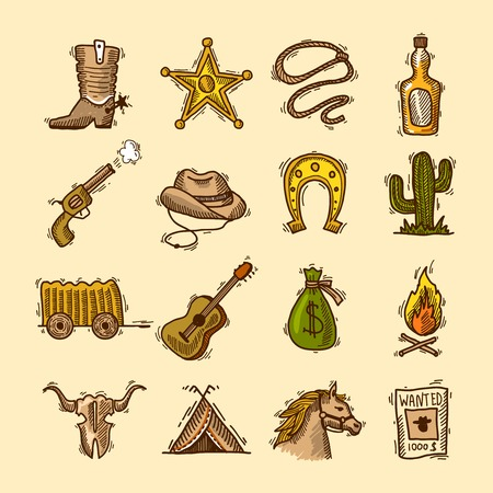 Wild west cowboy colored sketch icons set with boots badge lasso isolated illustration Vector