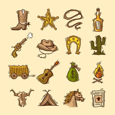 Wild west cowboy gekleurde schets pictogrammen instellen met laarzen badge lasso geïsoleerd illustratie