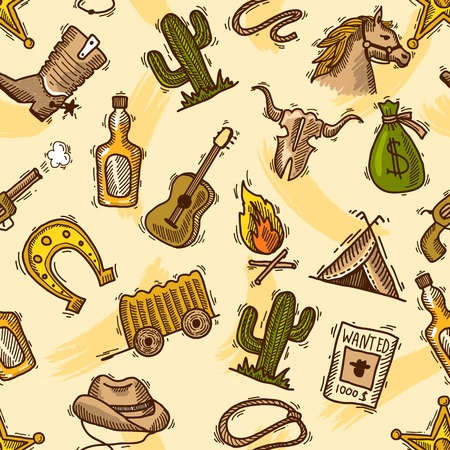 saddle: Wild west cowboy colored seamless pattern with guitar cactus bottle illustration Illustration