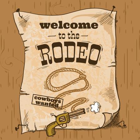 rodeo americano: Salvaje oeste dibujado a mano cartel del rodeo del vaquero con el arma y lazo ilustración