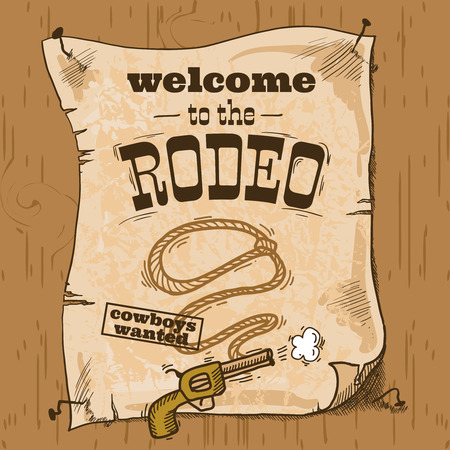 Wild west cowboy hand drawn rodeo poster with gun and lasso illustration Vector