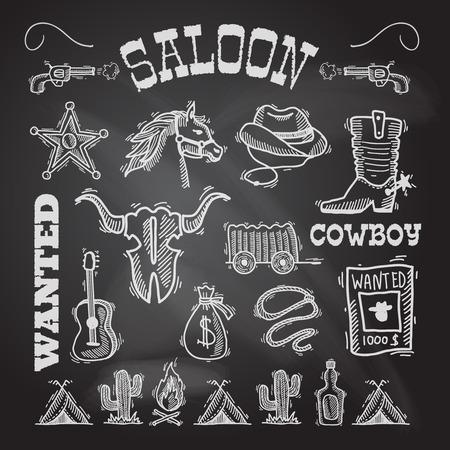 Salvaje pizarra vaquero oeste conjunto con bolsa de dinero aislado arma caballo ilustración vectorial Vectores