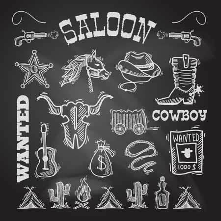 Wild west cowboy chalkboard set with gun money bag horse isolated vector illustration Vector