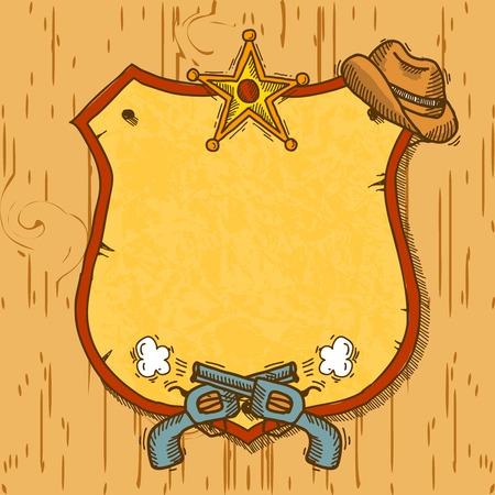 Salvaje fondo boceto vaquero oeste con armas de fuego y sombrero ilustración insignia del sheriff Vectores