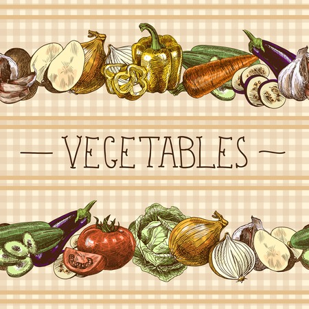 Food vegetables sketch seamless pattern with onion tomato eggplant paprika illustration Vector