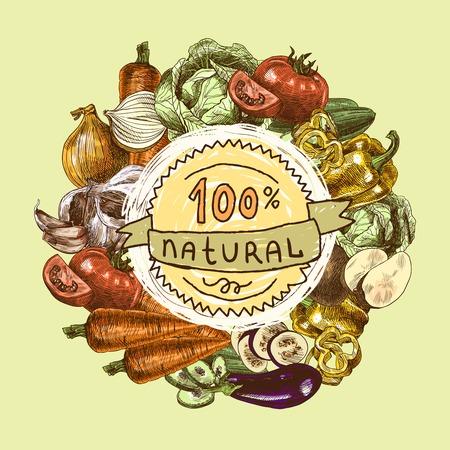 Vegetables natural organic fresh food color still life background sketch illustration Illustration