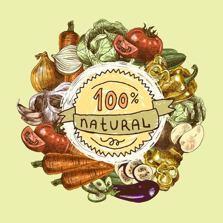 title hands: Vegetables natural organic fresh food color still life background sketch illustration Illustration