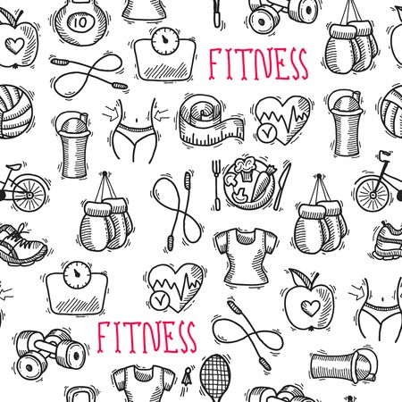 box weight: Fitness bodybuilding diet sport training healthcare black and white sketch seamless pattern  illustration Illustration
