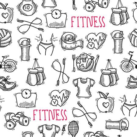 tileable background: Fitness bodybuilding diet sport training healthcare black and white sketch seamless pattern  illustration Illustration
