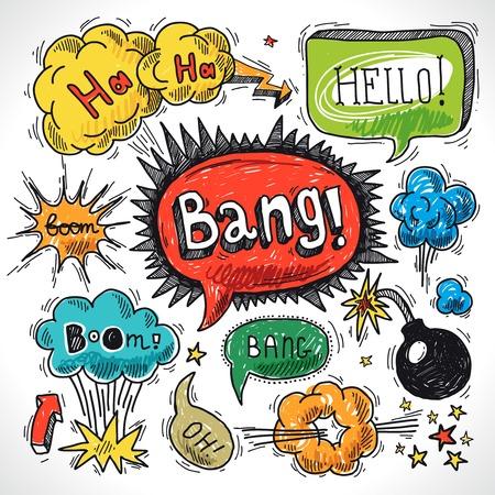 funny: Comic speech bubble sketch design element symbol boom splash bomb illustration Illustration