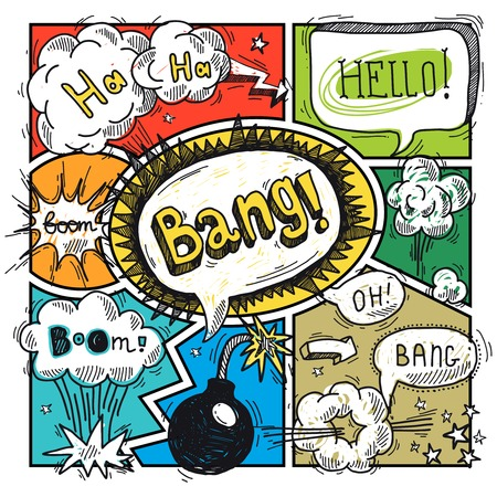 bam: Comic speech humor funny cartoon bubble sketch design background illustration