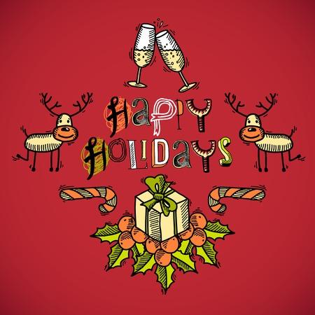 メリー クリスマス スケッチ ヴィンテージ色のシャンパンの鹿、ギフト ボックス イラスト カード