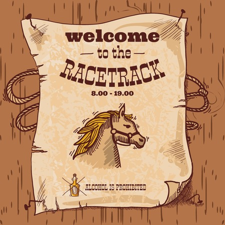 Wild west cowboy hand drawn racetrack poster with horse and lasso illustration Vector