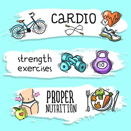 fuerza: Fuerza de fitness cardio ejercicios de una nutrici�n adecuada de colores aislados conjunto de banner horizontal ilustraci�n boceto